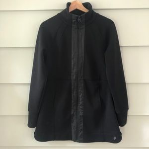 Fila Sport Solid Black Zip Up Dress Tunic Jacket S
